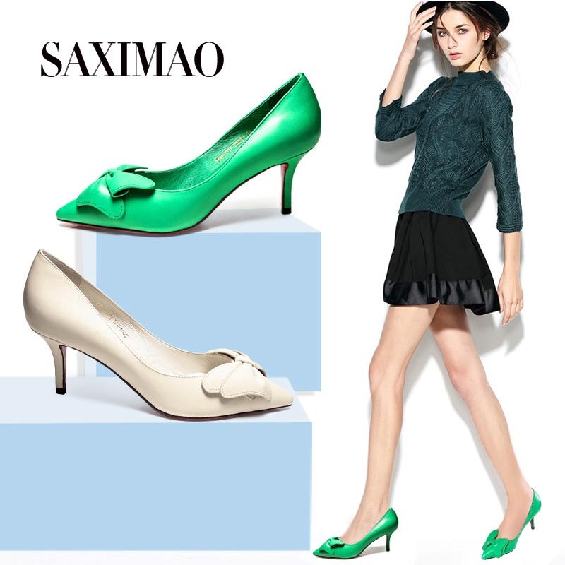绿色尖头鞋 桑席猫羊皮蝴蝶结单鞋女秋绿色浅口真皮女鞋尖头细跟高跟鞋小码33_推荐淘宝好看的绿色尖头鞋