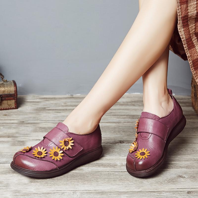 紫色厚底鞋 春秋新真皮牛皮女紫色黑色圆头深口厚底中跟复古花朵田园风单皮鞋_推荐淘宝好看的紫色厚底鞋