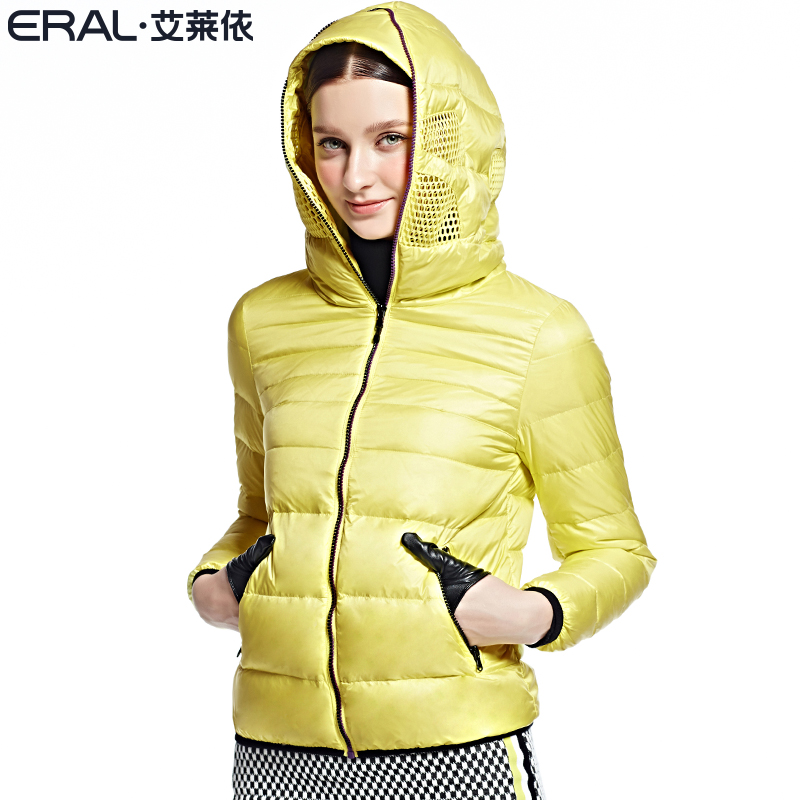 艾莱依羽绒服 ERAL艾莱依冬季时尚羽绒服女连帽短款韩版修身外套2053D_推荐淘宝好看的女艾莱依羽绒服