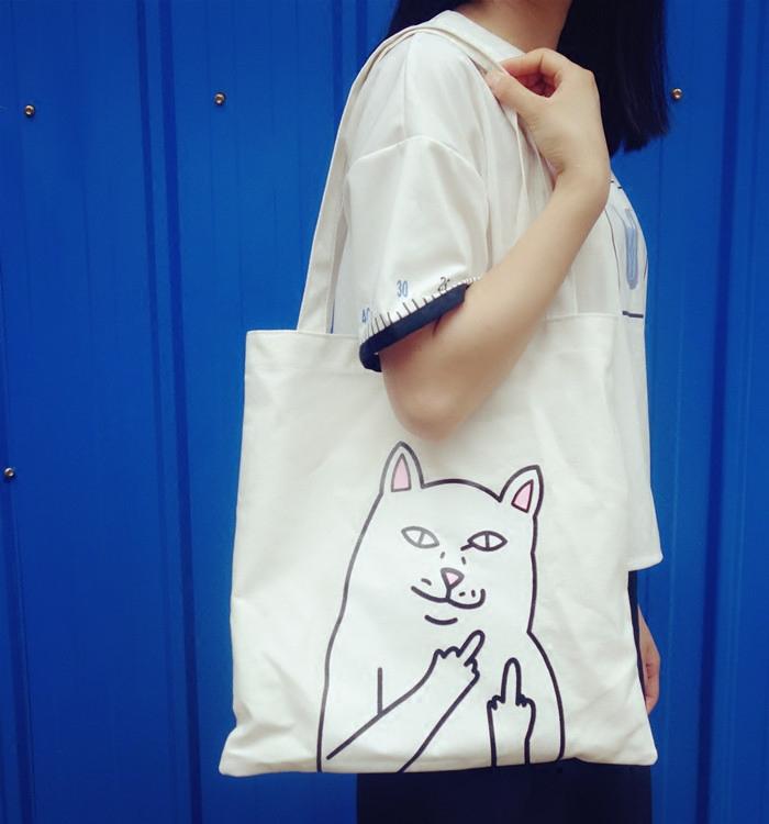 黑色手提包 韩国日系原宿bf风字母印花购物袋手提帆布单肩包包大女夏_推荐淘宝好看的黑色手提包
