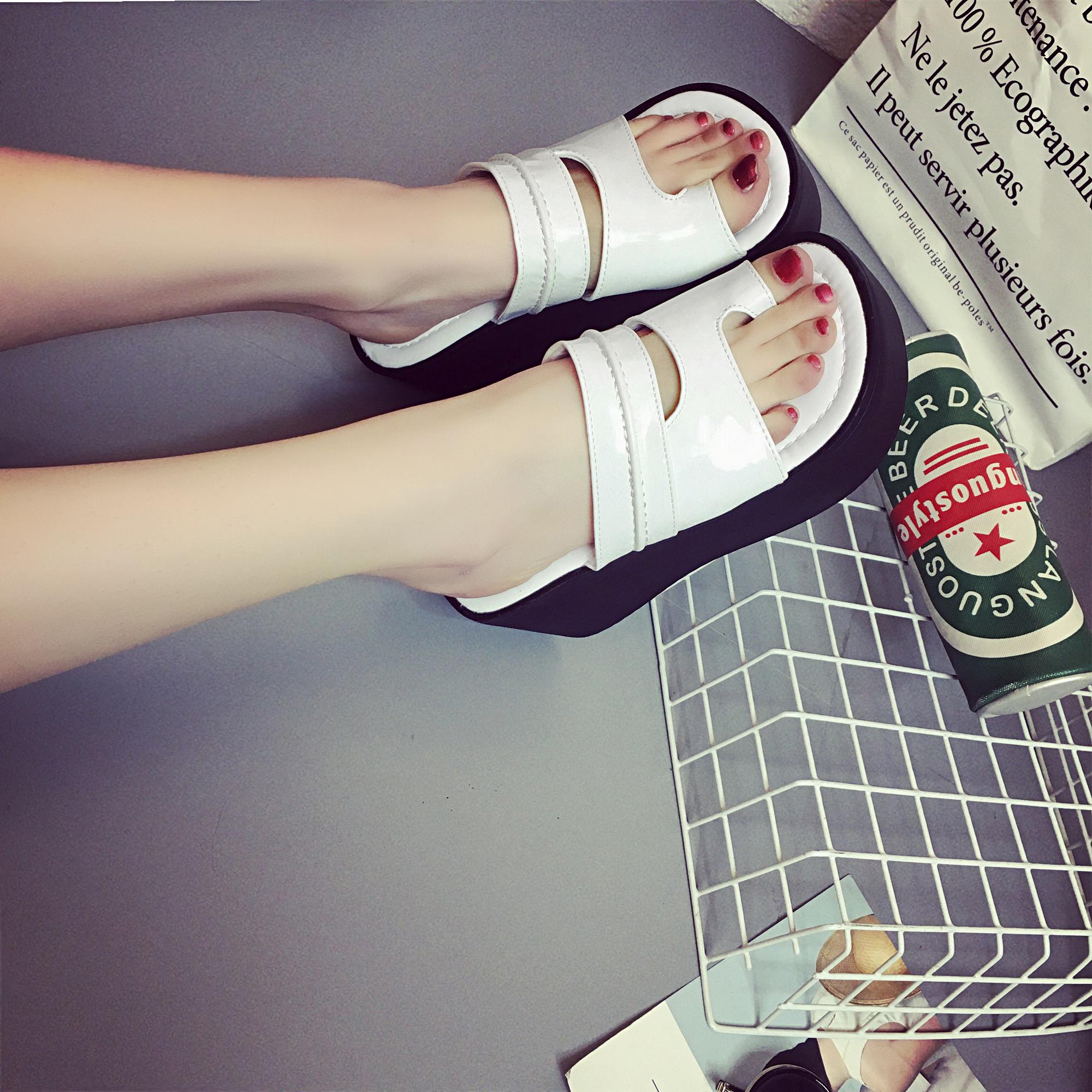 韩版坡跟鞋 2018夏季松糕跟女鞋厚底女防滑套趾凉拖鞋韩版坡跟高跟夹趾凉鞋潮_推荐淘宝好看的韩版坡跟鞋
