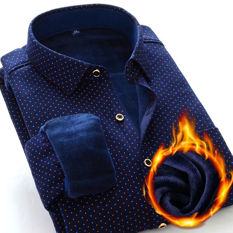 男士衬衫 冬季商务男士加绒加厚保暖衬衣胖子肥佬加肥加大大码长袖保暖衬衫_推荐淘宝好看的男衬衫