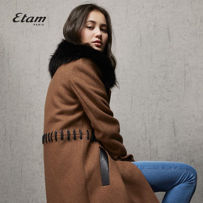 艾格女装 艾格Etam时尚 中长款毛领翻领大衣女160134270_推荐淘宝好看的艾格