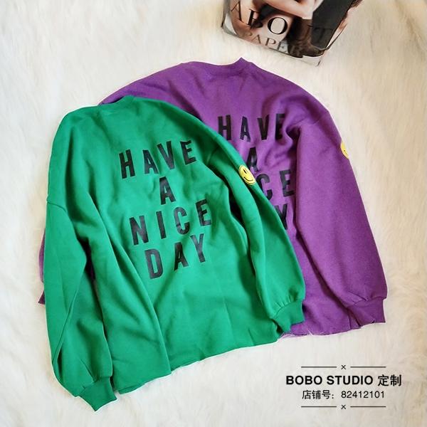 绿色卫衣 BO-MONA开心style 宽松卫衣女休闲慵懒圆领套头长袖加厚字母上衣_推荐淘宝好看的绿色卫衣