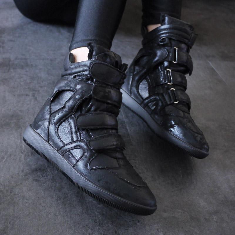 女士高帮鞋 SVSHOP 欧美风女靴正品平底短靴平跟鞋内增高休闲鞋运动高帮鞋女_推荐淘宝好看的女高帮鞋