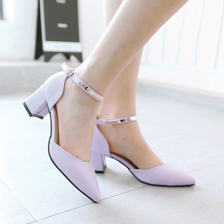 紫色罗马鞋 夏季女鞋包头镂空一字带凉鞋中粗跟粉米蓝紫色PU皮百搭气质罗马鞋_推荐淘宝好看的紫色罗马鞋