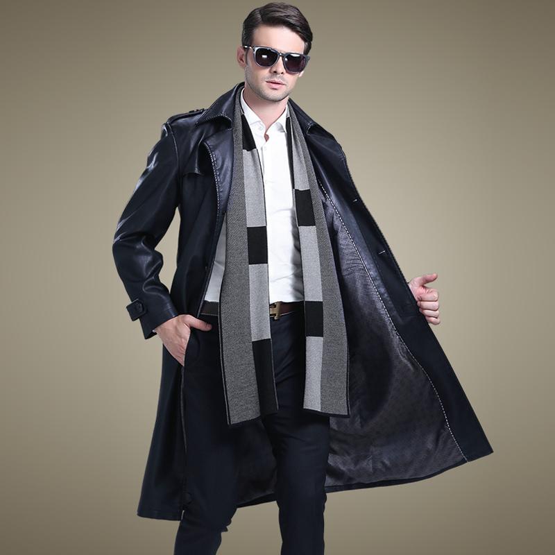 男士长款皮衣 2018秋装韩版西服领大码长款真皮皮衣男士皮风衣外套加长皮大衣潮_推荐淘宝好看的男长款皮衣