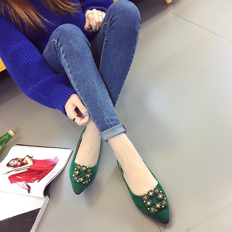 绿色平底鞋 蓝色大海的传说同款绿色水钻平底鞋尖头浅口单鞋绸缎女鞋子学生鞋_推荐淘宝好看的绿色平底鞋