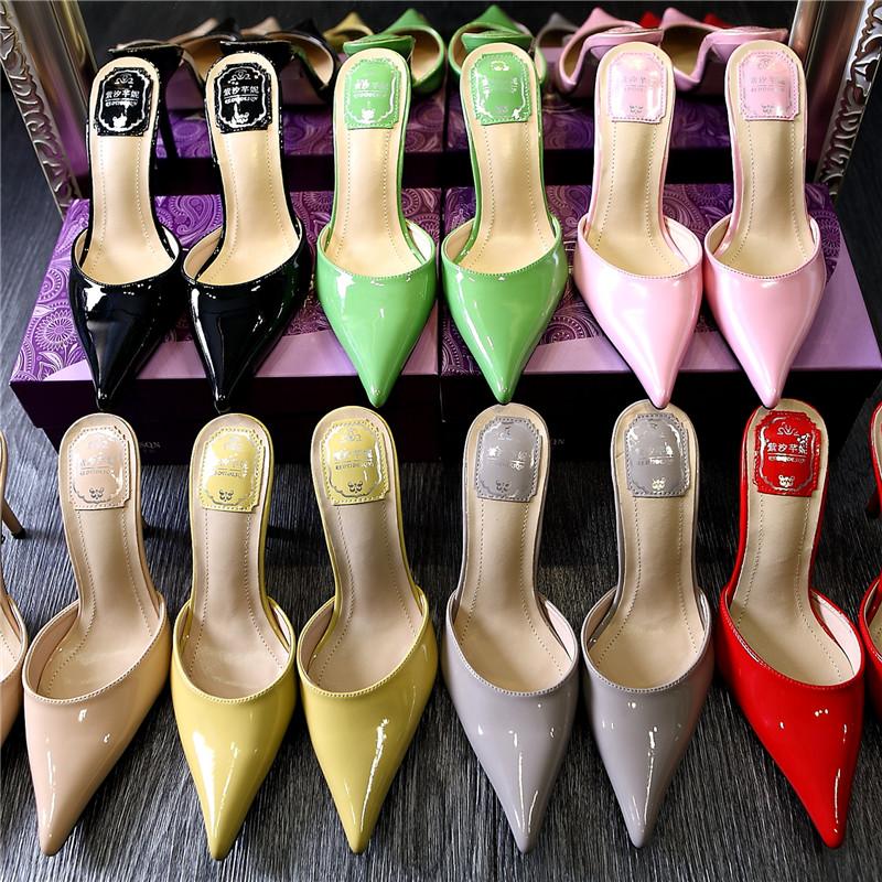 欧美款尖头鞋 夏季新款欧美凉鞋细跟高跟鞋尖头拖鞋女夏包头真皮凉拖半拖穆勒鞋_推荐淘宝好看的欧美尖头鞋