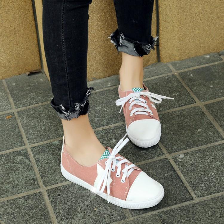 粉红色平底鞋 黄色粉红色白色绿色女鞋系带平底休闲学生鞋情侣大码鞋小码鞋 XTD_推荐淘宝好看的粉红色平底鞋