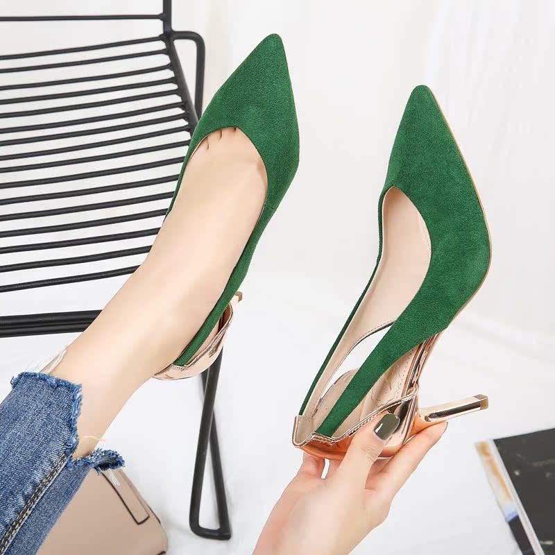 绿色高跟鞋 早春2018新款女鞋绿色时尚尖头鞋绒面拼色单鞋镂空少女高跟鞋细跟_推荐淘宝好看的绿色高跟鞋