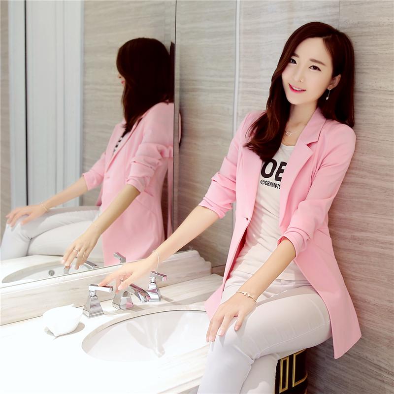 粉红色小西装 小西装女外套中长款2018春秋外套女修身韩版百搭大码长袖女士西服_推荐淘宝好看的粉红色小西装