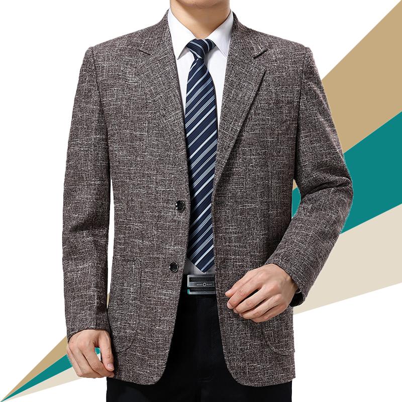 西装男 春秋中老年男士西服外套爸爸装单西便服中年休闲免烫西装单件上衣_推荐淘宝好看的西装男