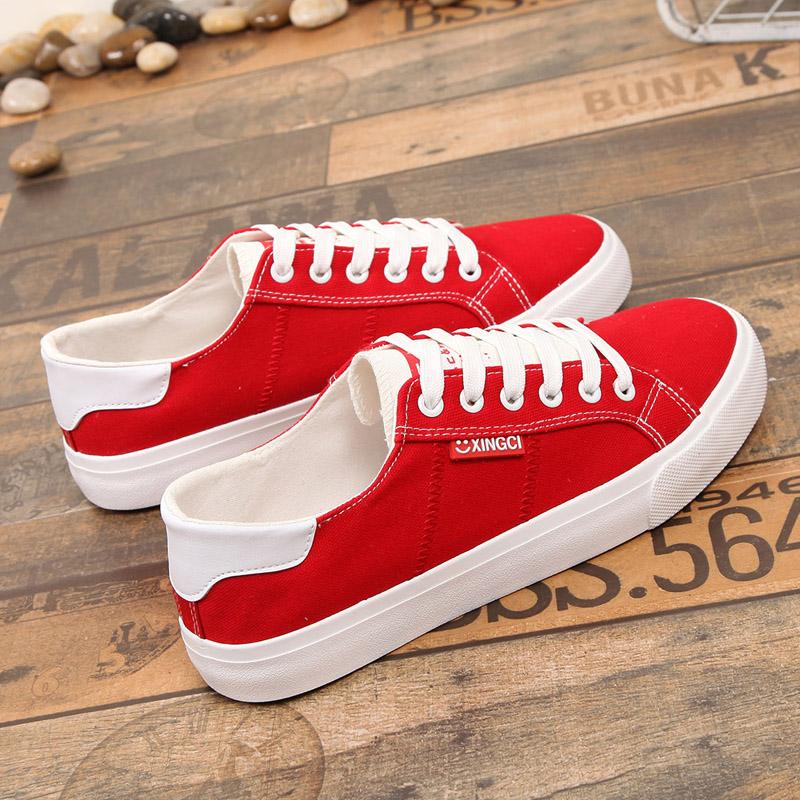红色帆布鞋 大红色帆布鞋女大号板鞋大码女鞋40-43-41平底女士系带显瘦小白鞋_推荐淘宝好看的红色帆布鞋