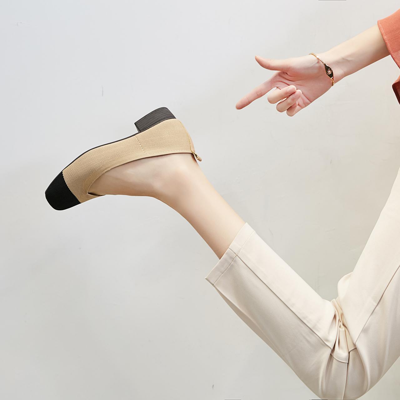 浅口豆豆鞋 粗跟方头复古拼色奶奶单鞋2018新款中跟浅口豆豆鞋小香风针织女鞋_推荐淘宝好看的浅口豆豆鞋