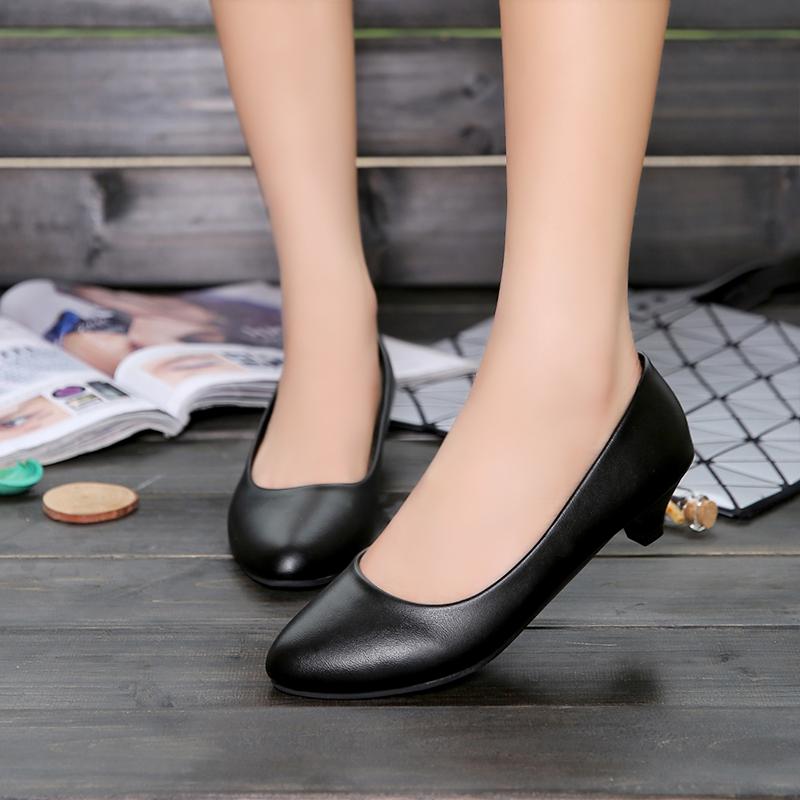 单鞋 四季低跟软皮工作鞋女黑色皮鞋职业高跟单鞋中跟工装通勤正装女鞋_推荐淘宝好看的女单鞋