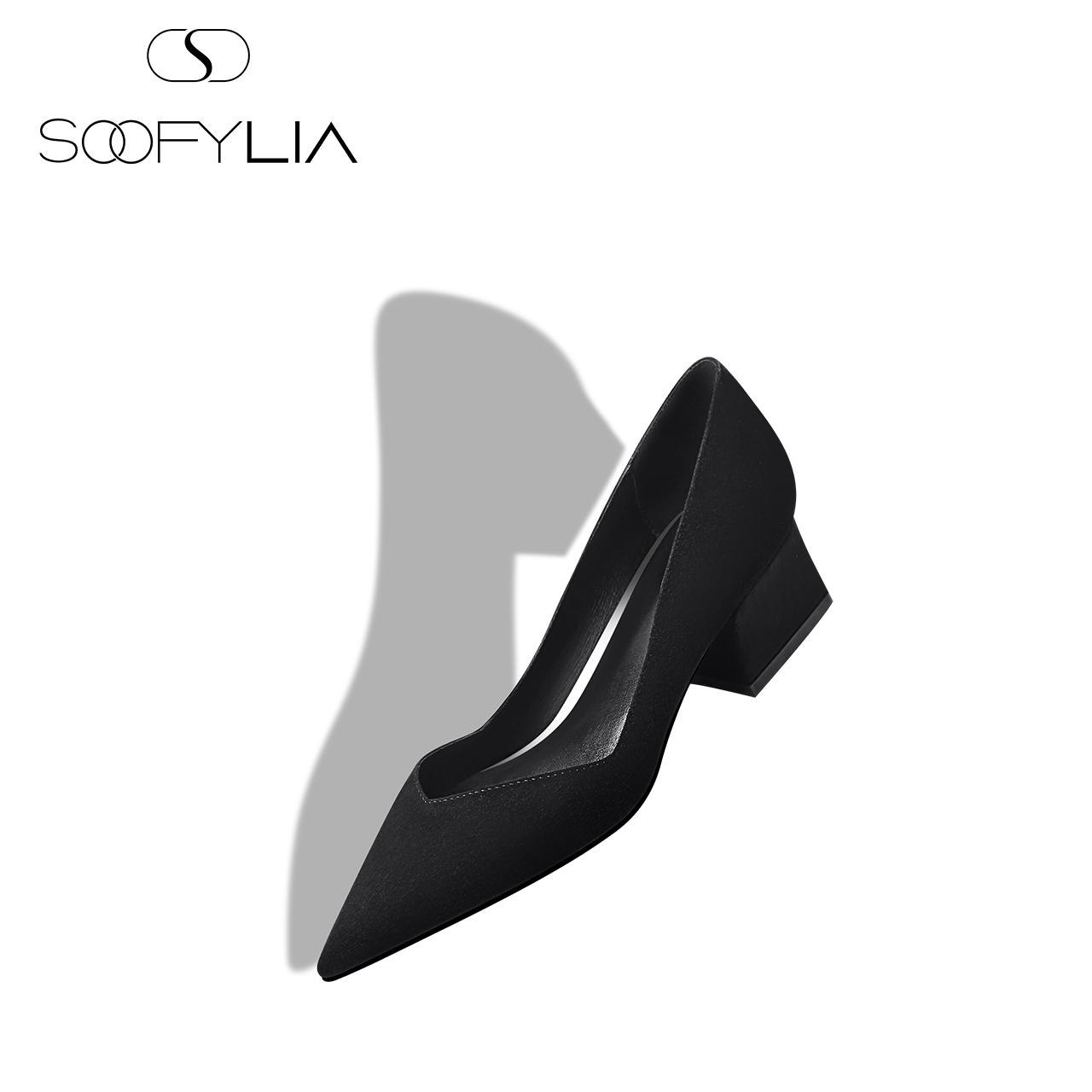 黑色尖头鞋 SOOFYLIA 宴会鞋履 2018春季新品 黑色羊反绒尖头粗跟单鞋女鞋_推荐淘宝好看的黑色尖头鞋