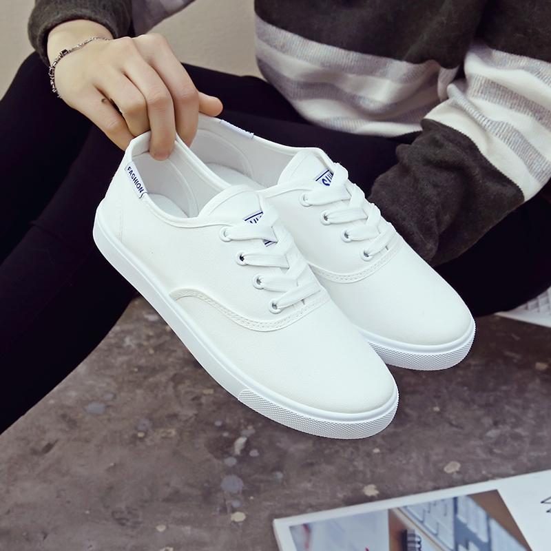 白色帆布鞋 春夏新款韩版帆布鞋小白鞋女系带平底休闲鞋学生白色板鞋运动女鞋_推荐淘宝好看的白色帆布鞋