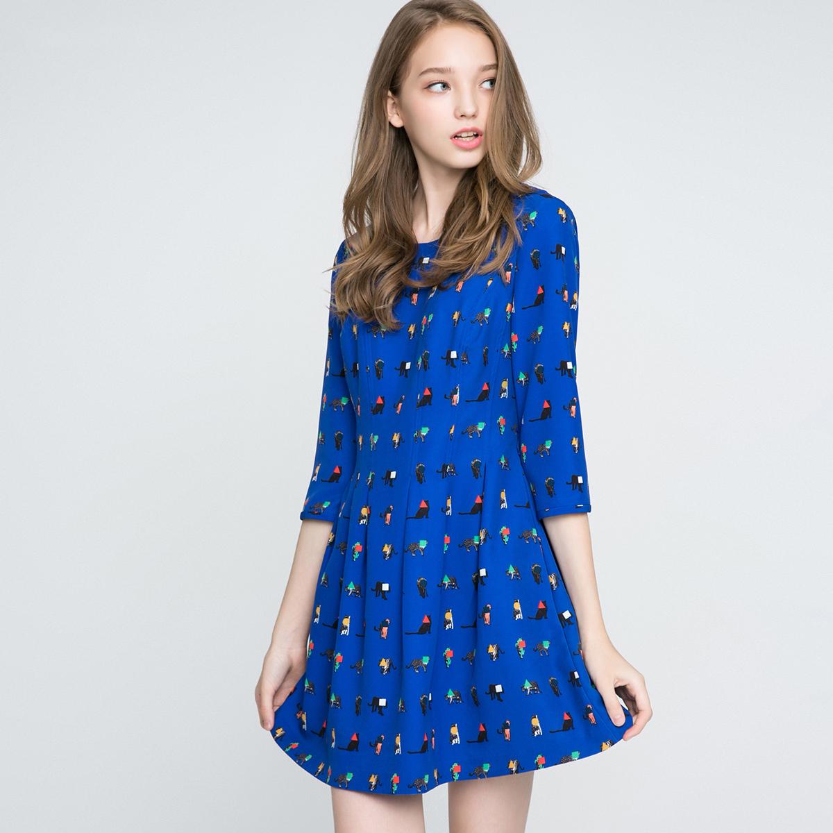 新款七分袖连衣裙 ONLY新款创意撞色图案多色收腰七分袖连衣裙女-116307555_推荐淘宝好看的新款七分袖连衣裙