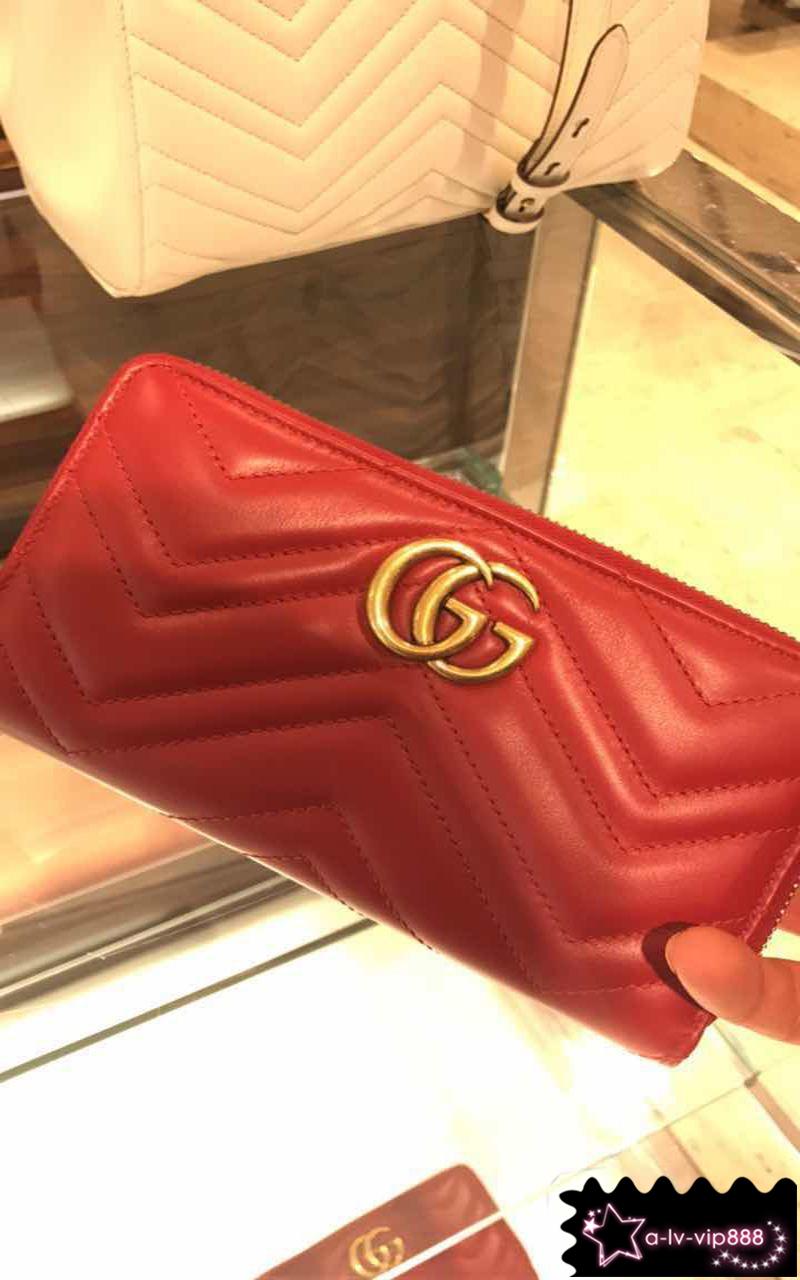 古驰钱包 Gucci古奇 女士GG Marmont 全拉链条皮夹拉链长款钱包 443123_推荐淘宝好看的女古驰钱包