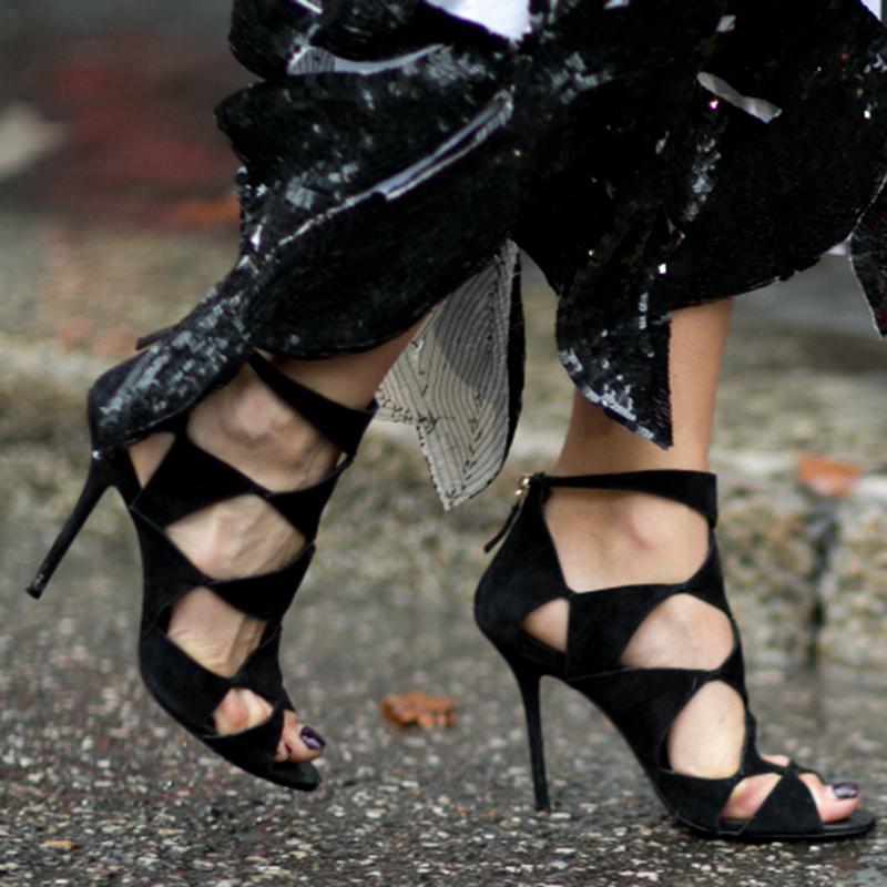 中国高跟鞋 爬梯女鞋2018秋季新款鱼嘴镂空高跟鞋罗马单鞋子黑色绑带细跟凉鞋_推荐淘宝好看的女高跟鞋