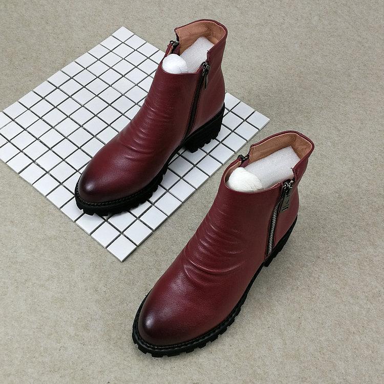 圆头短靴 专柜尾货处理全皮马丁靴女英伦圆头舒适短靴百搭中跟时尚靴子正品_推荐淘宝好看的女圆头短靴