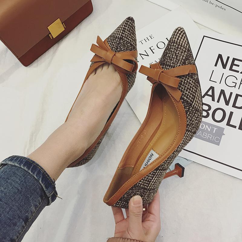 高跟鞋 2018春季女鞋新款尖头浅口格子料高跟鞋气质优雅蝴蝶结猫跟女单鞋_推荐淘宝好看的女高跟鞋