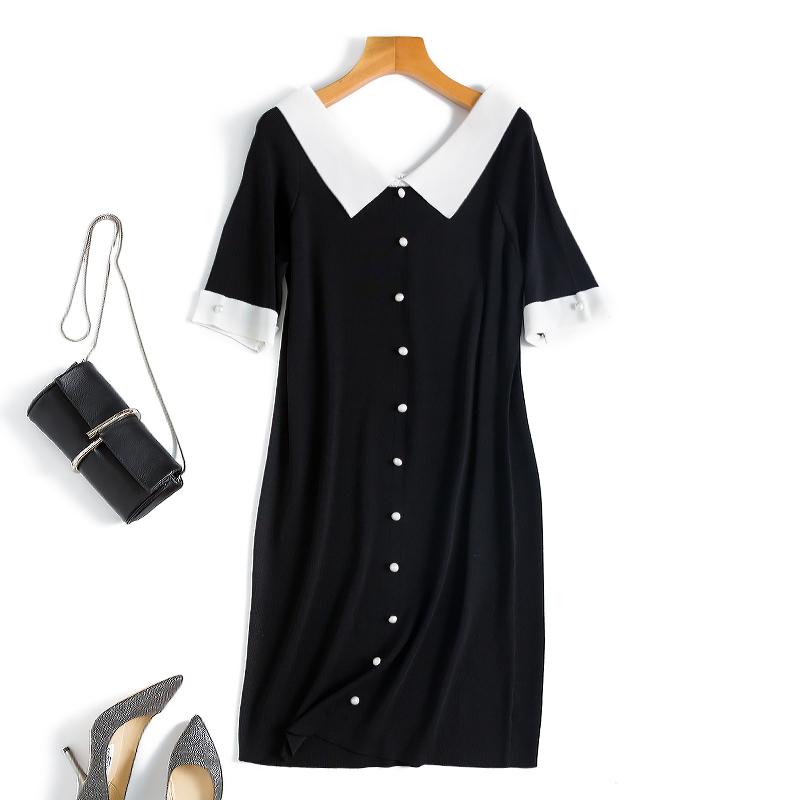 黑色连衣裙 胖丁 学院风撞色娃娃领 钉珠排扣冰麻针织直筒连衣裙2色_推荐淘宝好看的黑色连衣裙