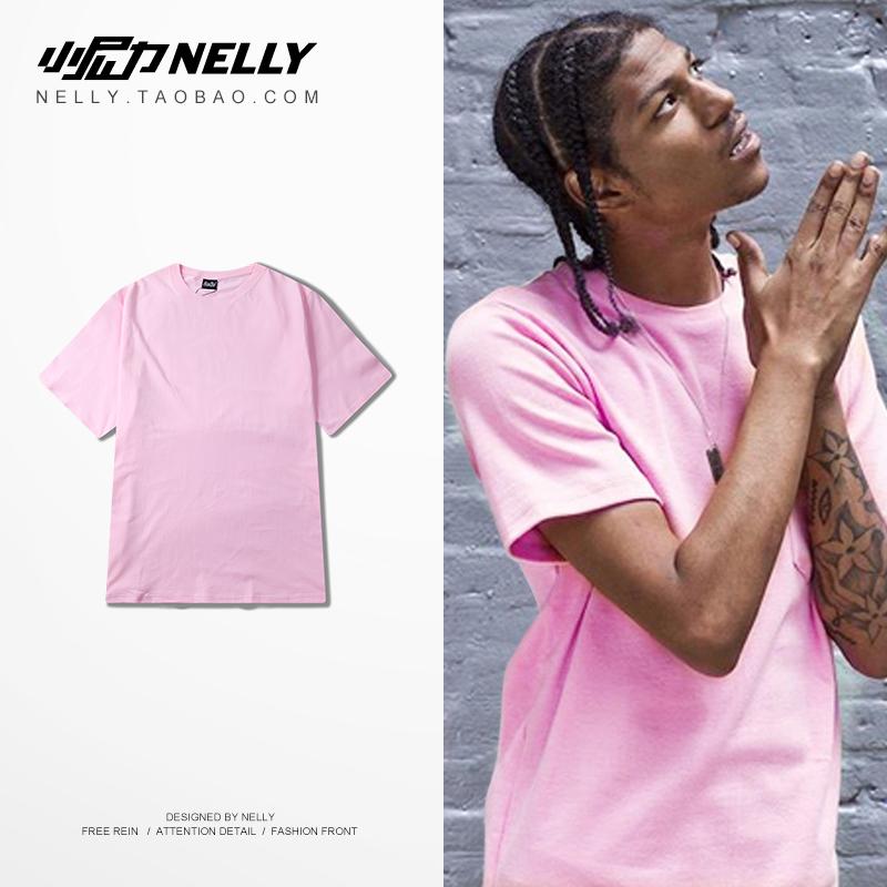 紫色T恤 ulzzang 韩国粉红色纯色t恤短袖t恤男女半袖 夏装粉色宽松t恤潮_推荐淘宝好看的紫色T恤