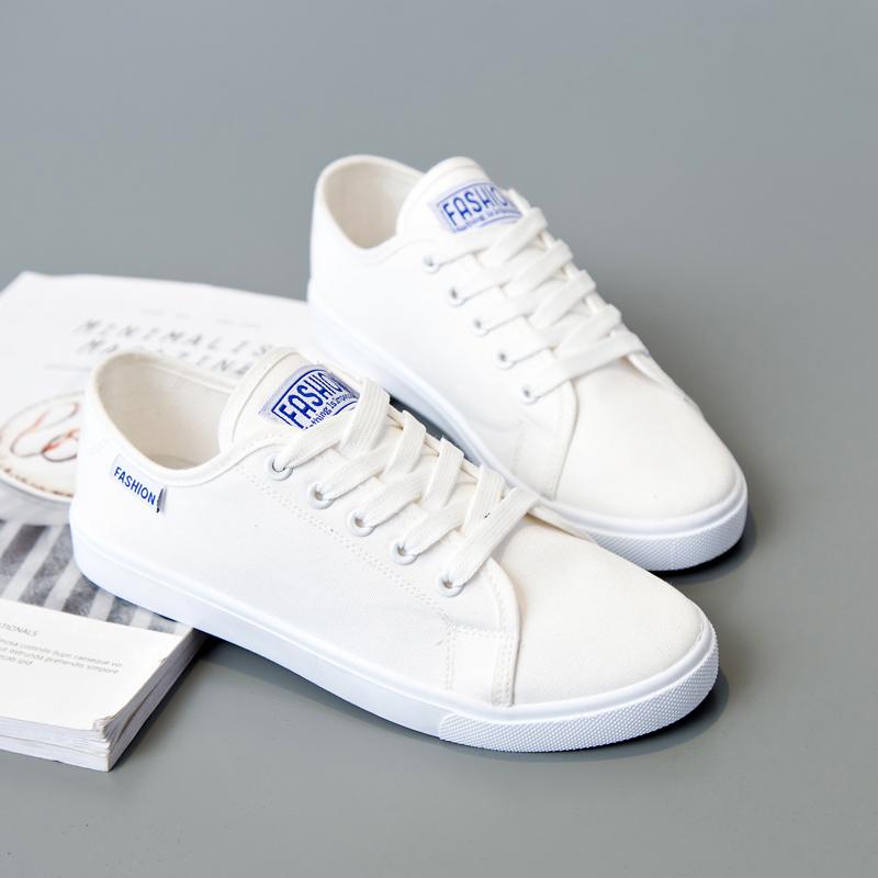 白色帆布鞋 街拍帆布鞋女2017夏季新款女鞋韩版平底休闲鞋小白鞋学生白色鞋子_推荐淘宝好看的白色帆布鞋