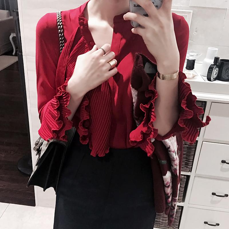 雪纺长袖衬衫 2017春装韩版修身喇叭袖长袖荷叶边雪纺衫百褶职业衬衫打底上衣女_推荐淘宝好看的女雪纺长袖衬衫