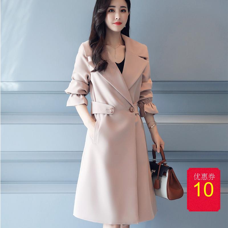 紫色风衣 2018年春季舒适唯美优雅风衣外套 女长袖修身纽扣修身青春外套女_推荐淘宝好看的紫色风衣