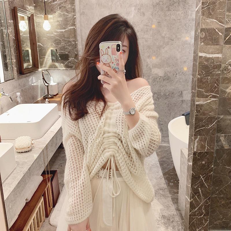 针织衫 大白兔头 设计感抽绳缕空针织衫外套女2019秋季温柔仙女长袖上衣_推荐淘宝好看的女针织衫