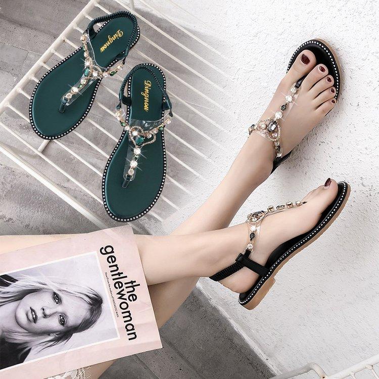 水钻平底罗马鞋 2018波西米亚水钻女凉鞋韩版平底人字夹趾罗马鞋女旅游沙滩鞋女鞋_推荐淘宝好看的女水钻平底罗马鞋