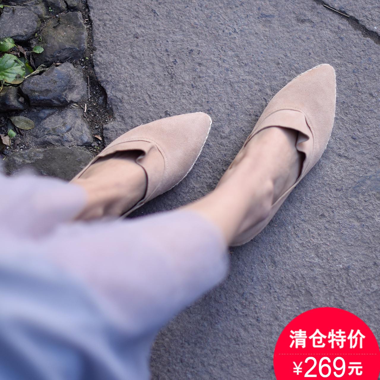 低跟坡跟鞋 Artmu阿木原创森女尖头低跟单鞋女2018春季新款真皮编织坡跟女鞋_推荐淘宝好看的低跟坡跟鞋