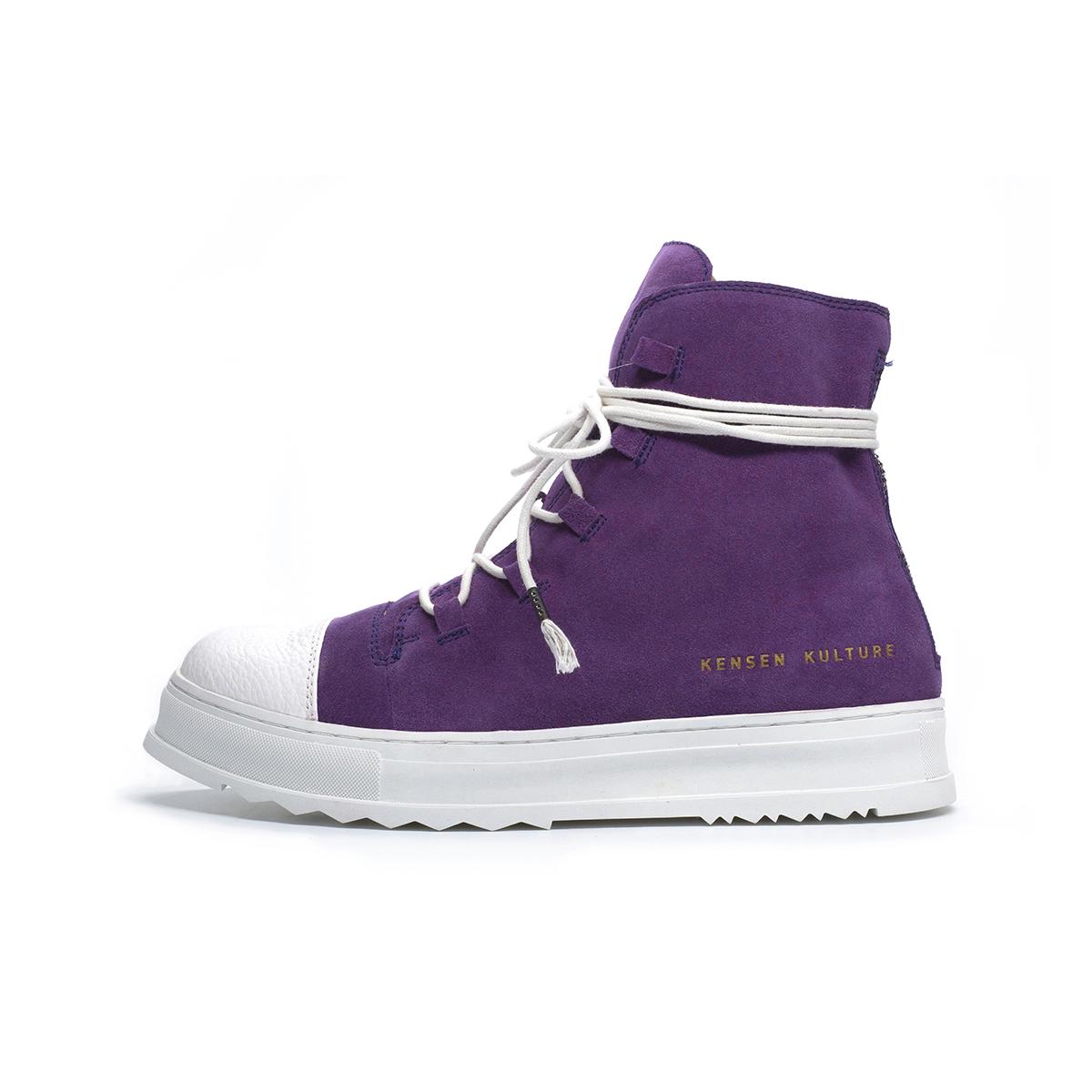 紫色高帮鞋 KENSEN KULTURE 紫色高帮麂皮反绒系带靴子 个性休闲男鞋_推荐淘宝好看的紫色高帮鞋