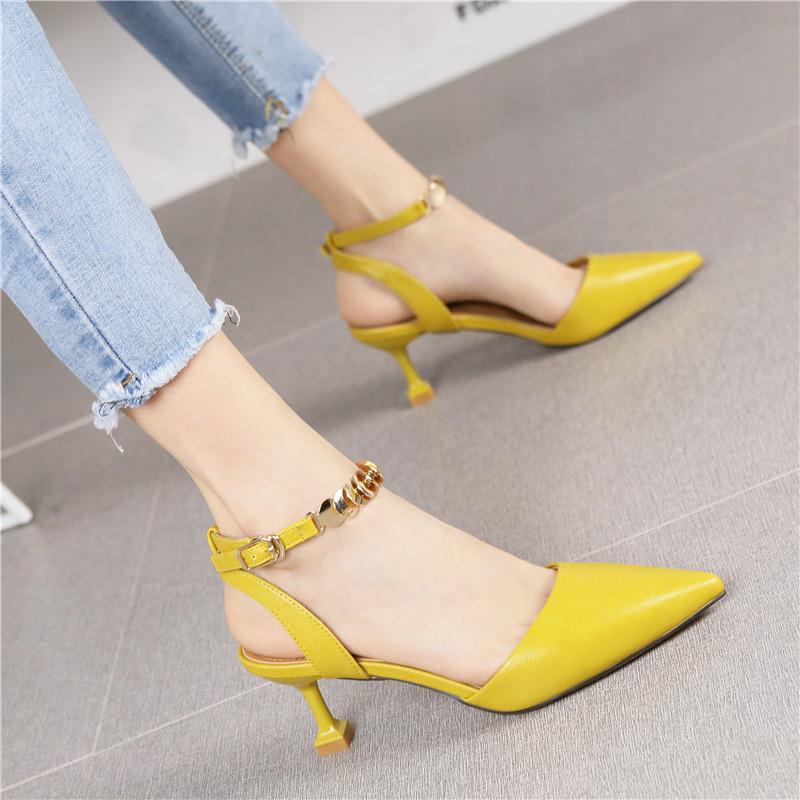 黄色凉鞋 韩版新款黄色百搭包头一字扣带凉鞋2018夏季时尚尖头细跟高跟鞋女_推荐淘宝好看的黄色凉鞋