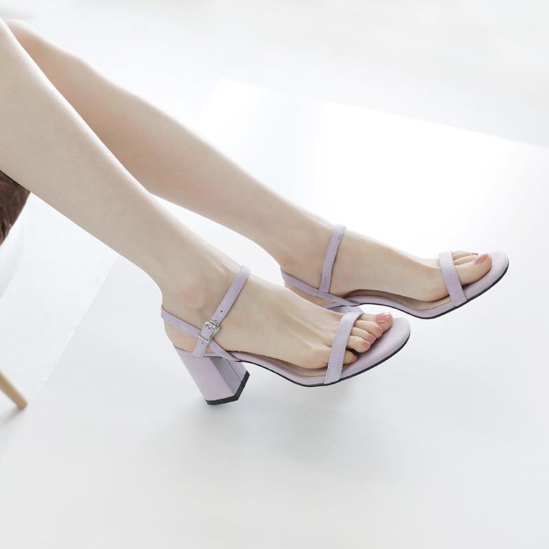 紫色凉鞋 晚晚凉鞋女仙女风2019新款夏学生中跟一字扣带粗跟高跟鞋百搭紫色_推荐淘宝好看的紫色凉鞋