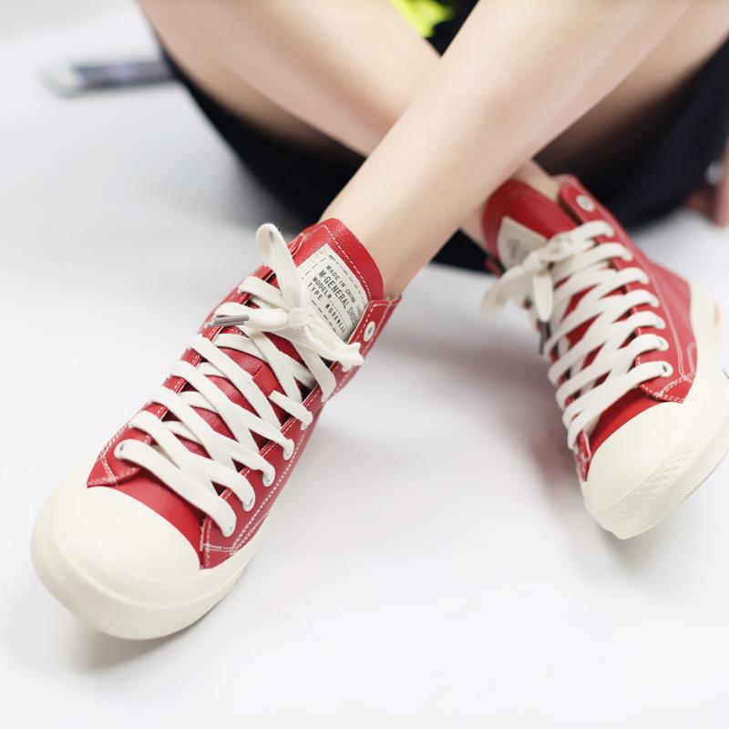 纯色高帮鞋 gemmake2018秋季新款皮质高帮帆布鞋女纯色平底学生休闲百搭女鞋_推荐淘宝好看的纯色高帮鞋