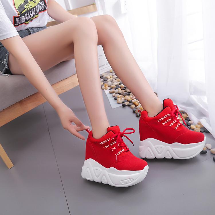 红色松糕鞋 红色帆布鞋2018春秋新款透气运动鞋拼色单鞋厚底超高内增高松糕鞋_推荐淘宝好看的红色松糕鞋
