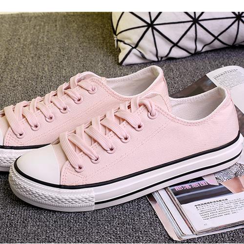 粉红色帆布鞋 平底女低帮淡淡粉帆布鞋韩版经典纯色浅粉红色板鞋学生潮鞋帆布鞋_推荐淘宝好看的粉红色帆布鞋