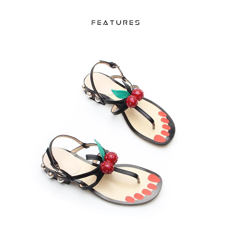 皮凉鞋 Features 夏季樱桃夹趾低跟真皮女鞋粗跟露趾珍珠夹脚一字扣凉鞋_推荐淘宝好看的女皮凉鞋