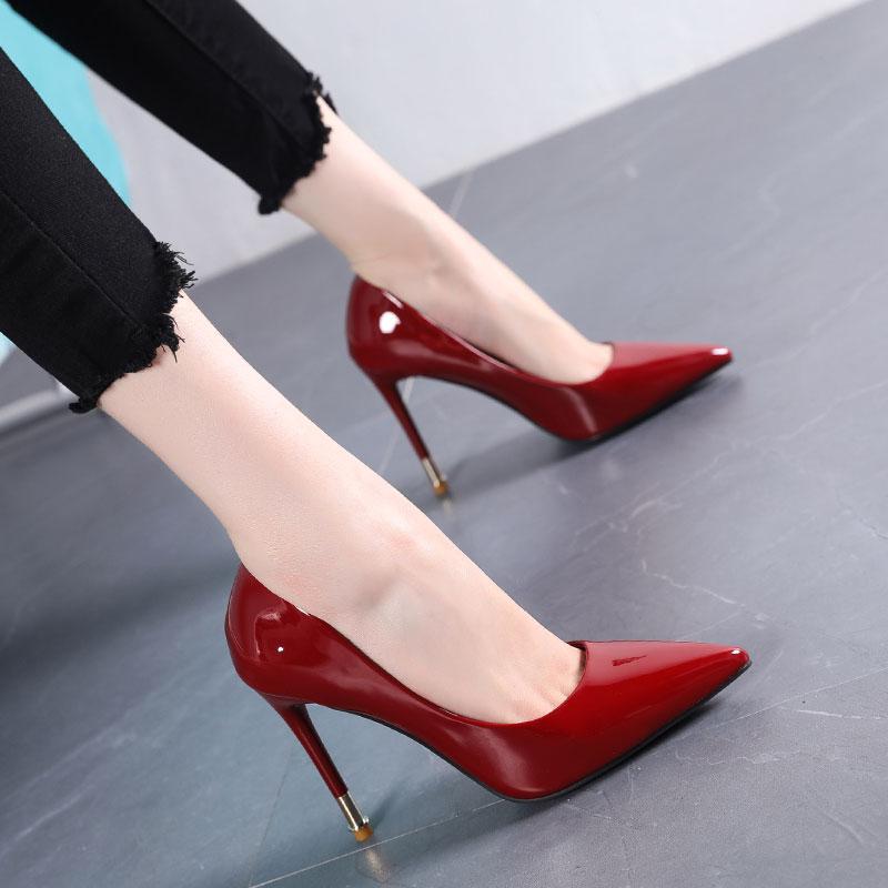 欧美款尖头鞋 欧美性感漆皮尖头高跟鞋10cm浅口女鞋2019秋新款细跟单鞋OL工作鞋_推荐淘宝好看的欧美尖头鞋