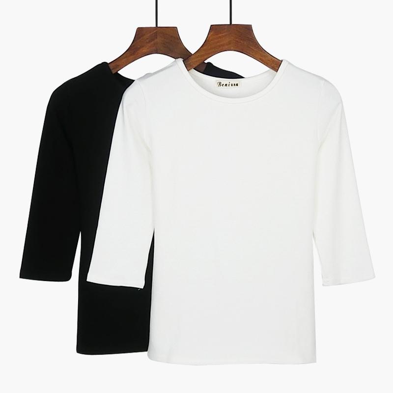 女士纯棉t恤 2018秋季女装新款纯棉中袖t恤女修身七分袖圆领纯白色大码打底衫_推荐淘宝好看的女纯棉t恤