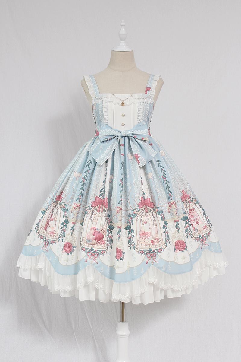 黑色连衣裙 Alice girl原创新款 Lolita笼中梦珠链吊坠波浪荷叶边 jsk连衣裙_推荐淘宝好看的黑色连衣裙