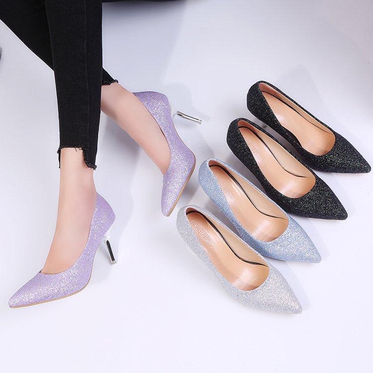 紫色高跟鞋 配礼服浅口亮片银色紫色伴娘鞋性感细跟7cm中跟单鞋高跟宴会女鞋_推荐淘宝好看的紫色高跟鞋