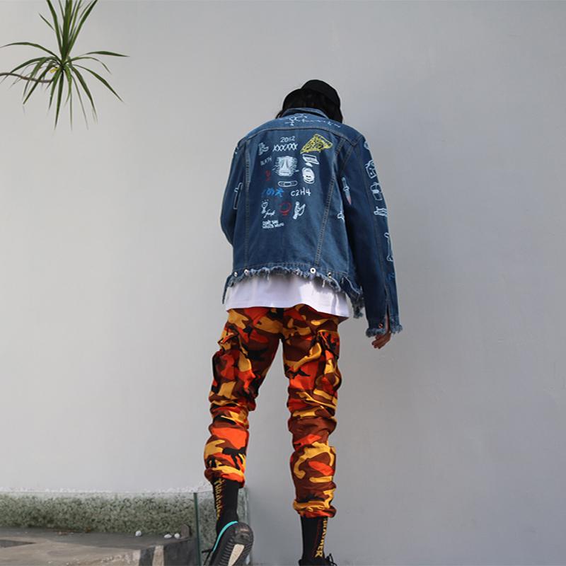 黄色休闲裤 中国有嘻哈INS迷彩裤欧美工装裤hiphop多口袋休闲裤吴亦凡同款潮_推荐淘宝好看的黄色休闲裤
