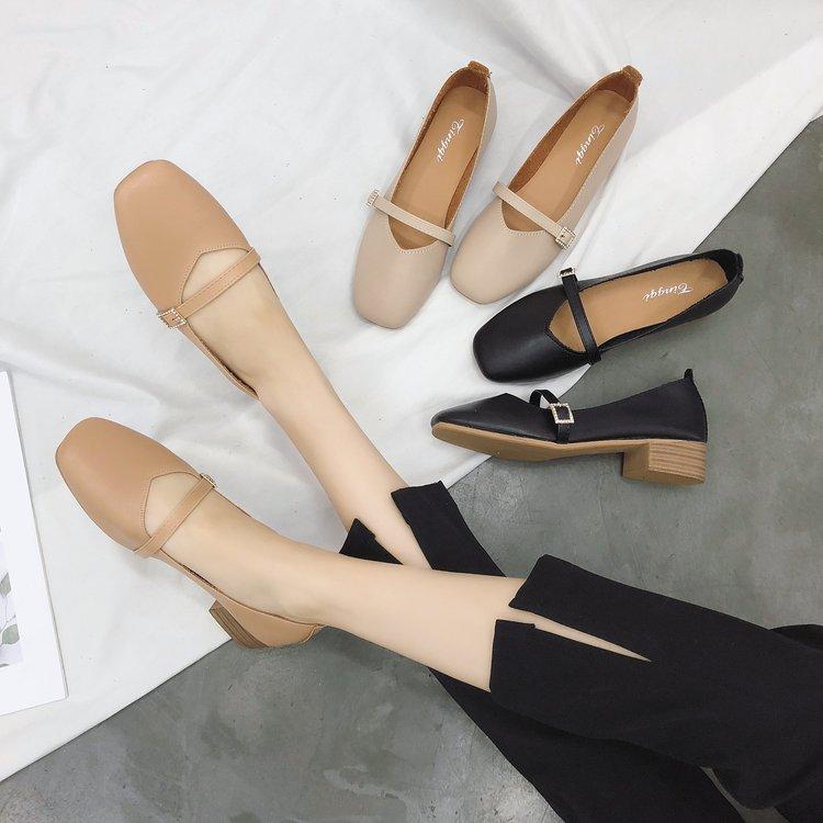女士豆豆鞋 粗跟单鞋女秋季2018新款奶奶鞋复古方头玛丽珍鞋低跟工作鞋豆豆鞋_推荐淘宝好看的女豆豆鞋