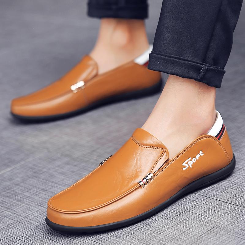 黄色豆豆鞋 夏季男士英伦休闲透气软皮豆豆鞋青年一脚蹬真皮棕色皮鞋黄色男鞋_推荐淘宝好看的黄色豆豆鞋