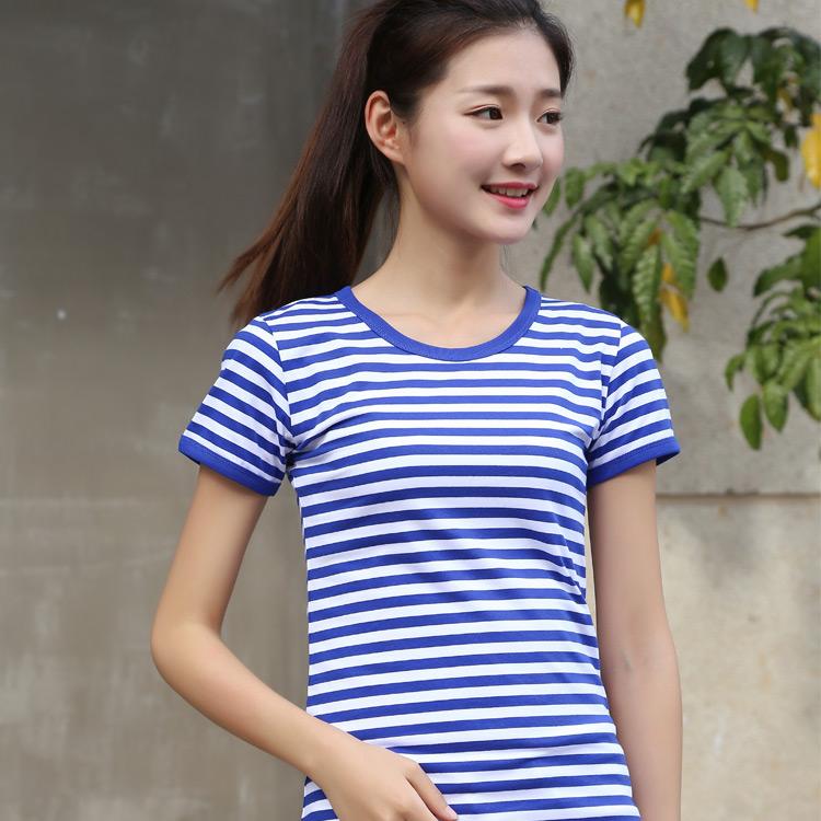 蓝白条纹t恤 夏季海魂衫短袖t恤女装蓝白条纹纯棉圆领修身款情侣款亲子装半袖_推荐淘宝好看的女蓝白条纹t恤
